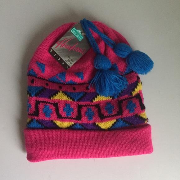 Vintage Ski Hat Winter Snow Hot Pink 80s 90s 207471dca83